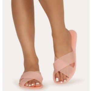 Shoes - Criss Cross Jelly Sandals in Matte Pink